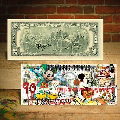MICKEY MOUSE 90th Birthday Genuine 2 U-S- Bill Pop Art - HAND-SIGNED by Rency