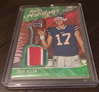 Josh Allen RC 2018 Panini Black Friday Fat Pack 3 Color Relic Happy Holidays 10