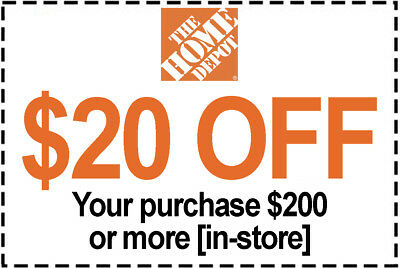 1x Home Depot Coupon 20 Off 200 IN-STORE ONLY - 1 to 5 mins EmaiI DeIivered