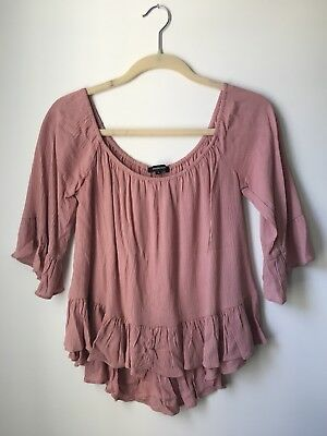 Forever 21 Ambiance Boho Off The Shoulder Bell Sleeve Woven Top Large NWOT