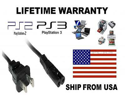 US 2-Prong Port AC Power Cord 6 Cable for PS2 PS3 Slim PS4 Laptops Printers