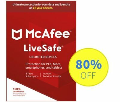 McAfee LiveSafe 2019 Antivirus -1235 Years Unlimited Subscription- Download