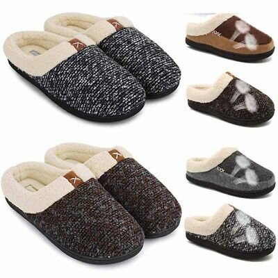 Mens Indoor Warm Thicken Slippers Adult Fur Lined Anti slip Home Cotton Shoes