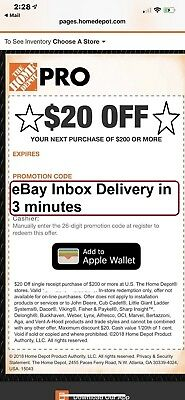One1x Home Depot 20 off 200 In-Store Only-1Coupon -SENT-FAST-3Mins-