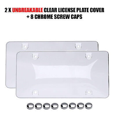 2x UNBREAKABLE Clear License Plate Covers Tag Frame Bubble Shield