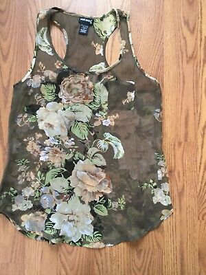Wet Seal Floral Sheer Tank Size Small