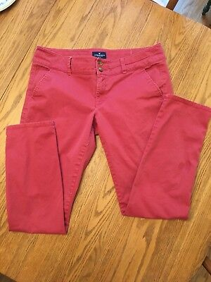 American Eagle Outfitters AEO Skinny Stretch red orange chinos size 12 VGUC
