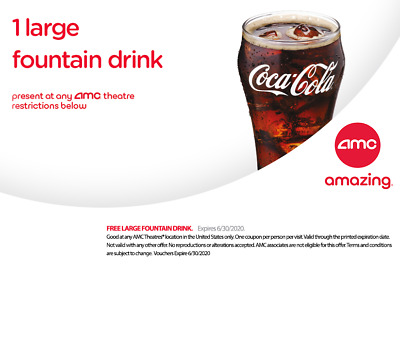 AMC Theatre 1 LARGE Popcorn and 1 LARGE Drink - Expires 063020 Fast Delivery