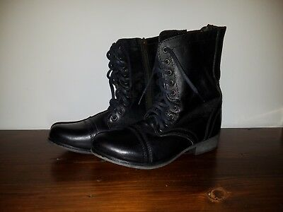 Steve Madden Troopa Boots Womens 7-5 M Black Leather Upper Lace Up Side Zip