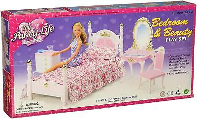 My Fancy Life Barbie Size Dollhouse Furniture Bed Room - Beauty Play Set