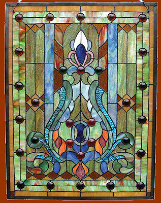 Stained Glass - Cabochons Victorian Design Window Panel 18 x 25 Handcrafted