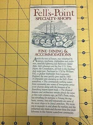 Vintage Travel Brochure Fells-Point Specialty Shops Fine Dining - Accommodation