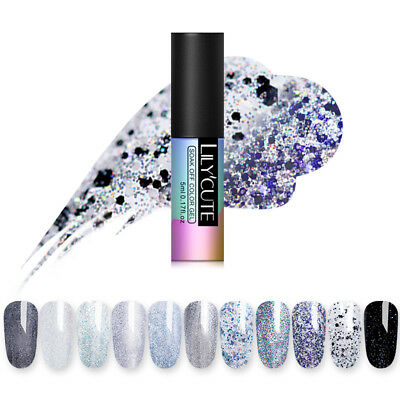 LILYCUTE 5ML SOAK OFF UV GELLACK GLITZERN GEL POLISH SEQUINS SHIMMER NAIL ART