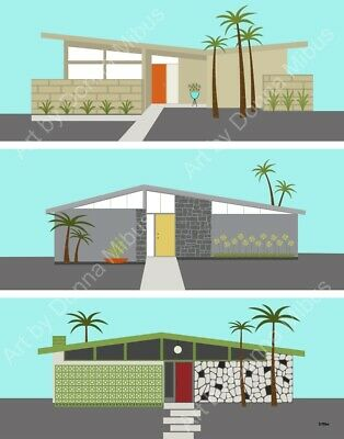 Print Mid Century Modern House Eames Style Donna Mibus MCM Modern houses