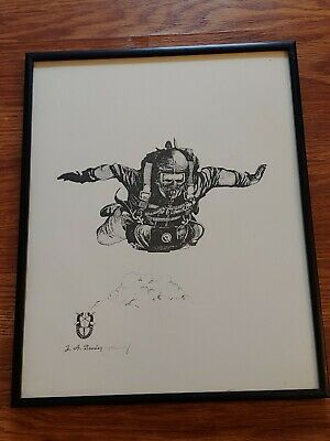 Signed 1980s Army Special Forces Print by J- A Beasley Paratrooper Airborne ART