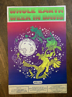 Vintage PETER MAX Whole Earth Week in Davis Poster 1970 RARE Psychedelic Print