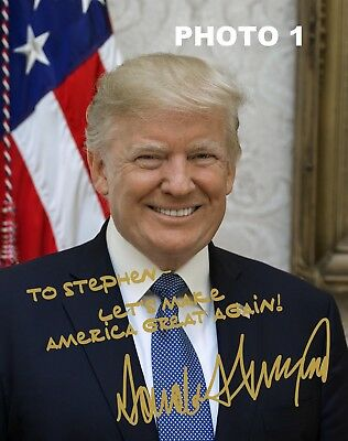 Personalized President Donald Trump Gold Autographed 8x10 Photo - FREE SHIPPING
