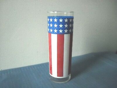 American Red White - Blue 4th of July Flag Vase Glass