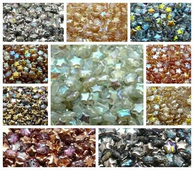 CHOOSE COLOR 50pcs Star Beads 8mm Czech Pressed Glass