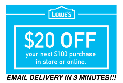 TWO 2x Lowes 20 OFF 100 Coupons Discount - In storeonline - Fast Shipment