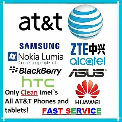 ATT CLEAN UNLOCK CODE SERVICE FOR AT-T SAMSUNG ASUS LG HUAWEI ALCATEL IPHONE