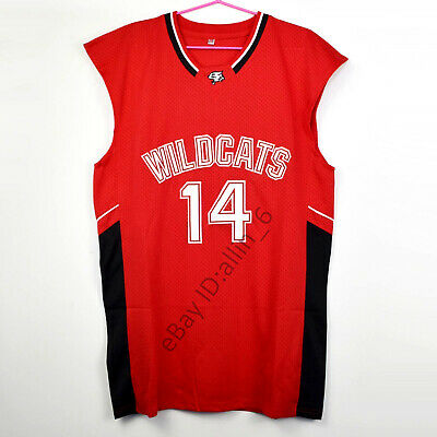 Zac Efron 14 Troy Bolton East High School Wildcats Basketball Jersey Red