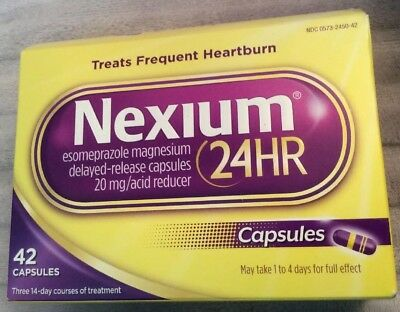 Nexium 24HR 42 Capsules - Treat Frequent Heartburn - Exp12  2020 Or Better-