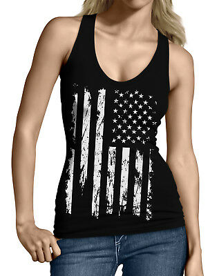 White Distressed USA Flag Patriotic 4th Of July Memorial Junior Womens Tanktop
