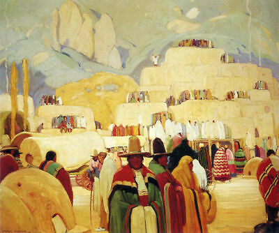 Pueblo of Taos by Victor Higgins   Paper Print Repro