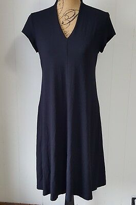 Eileen Fisher Shift Dress Womens Small Rayon V-Neck A Line Travel Career S