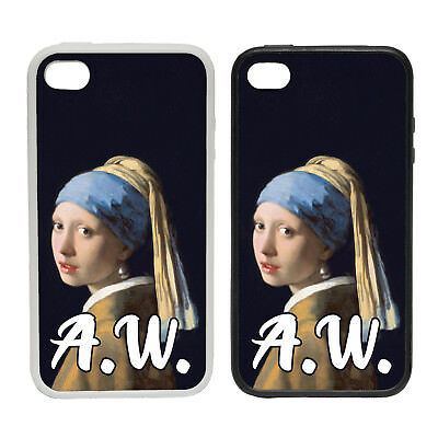 PERSONALISED PEARL EARRING INITIALS RUBBER AND PLASTIC PHONE COVER CASE 2