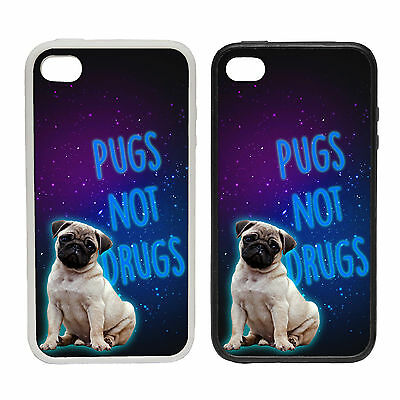 PUGS NOT DRUGS RUBBER AND PLASTIC PHONE COVER CASE CUDDLY PET DESIGN SAY NO