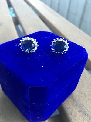 high quality Kate Middleton Diana Blue Sapphire Quartz earrings 4-08