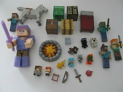 Minecraft Toy Action Figure Lot Characters Horses Blocks and Items