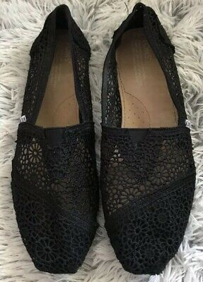 Toms Womens Mesh Shoes Black Floral Flats Sz 9-5 See Through