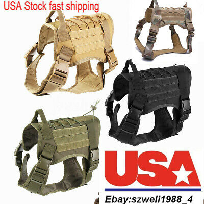 Military Tactical Training K9 Dog Harness Nylon Vest F pet Police Dogs Large ML