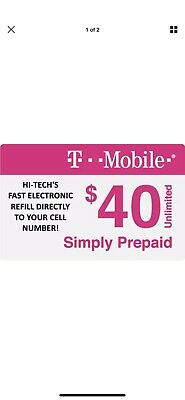 T-Mobile  Prepaid 40 Refill Top-Up Prepaid Card  AIR TIME RECHARGE 10 Minutes
