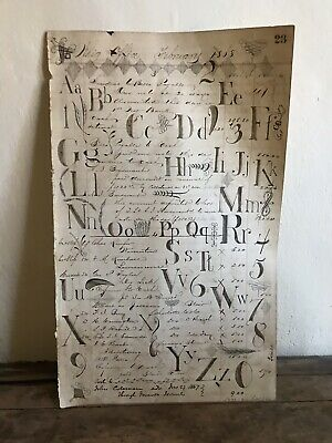 Large Early Antique 1868 Whig Office Ledger Sheet Artisan Folky Alphabet AAFA
