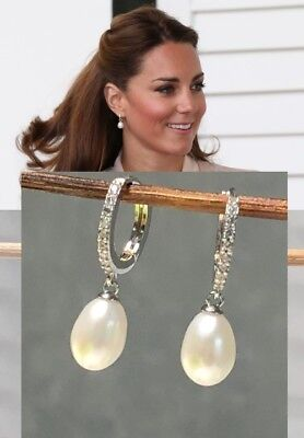 Kate Middleton Genuine Natural Pearl - Diamond Earrings Rhodium Ep estate Piece