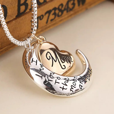 I Love You To The Moon - Back Mom Necklace - Pendant Mothers Day Bday Best Gifts