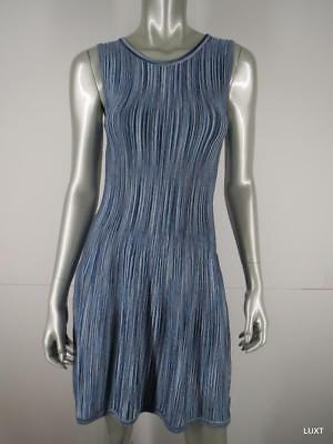 Shoshanna Dress Cocktail Party Mini Size S Blue Striped Knit Fit Flare BodyCon
