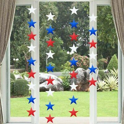 USA Star String Decorations 4m 4th of July American Patriotic Party DIY Decor US