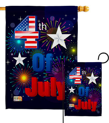 Fireworks July 4Th Fourth Of Star US Independence Day Garden House Yard Flag
