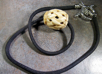 Naked and Afraid TV Show  Carved Bone Bead Para Cord Reproduction Necklace