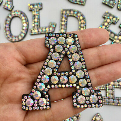 A-Z Letter Rhinestone Patch Iron-on Patches Garment Applique Clothing Stickers
