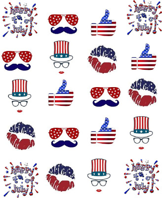 4th of July FUN Waterslide-Water Transfer Nail Decals Nail Art