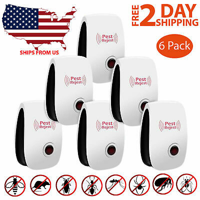 6 Pack Ultrasonic Pest Repeller Control Electronic Repellent Reject Insect Mice