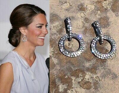 Kate Middleton Round Circle Earrings Diamond Sparkle Given by Princess Diana