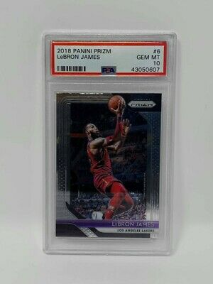 2018 PANINI PRIZM BASKETBALL LeBRON JAMES PSA 10 GEM MINT 6 LAKERS NEW