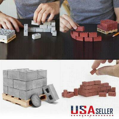 32Pcs Mini Cement Cinder Bricks Build Your Own Tiny Wall Mini Bricks US STOCK